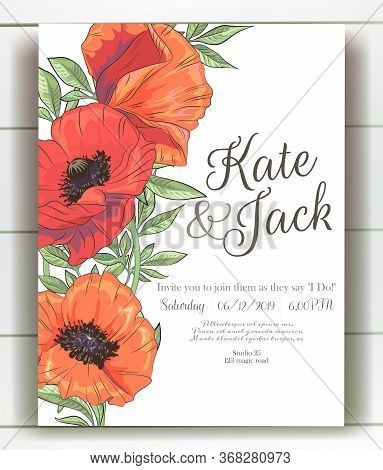 Vector Delicate Invitation With Poppy For Wedding, Marriage, Bridal, Birthday, Valentines Day. Mothe