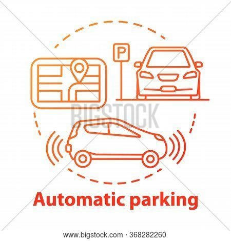 Automatic Parking Concept Icon. Driverless Car Navigation. Smart Car-maneuvering System. Self-drivin