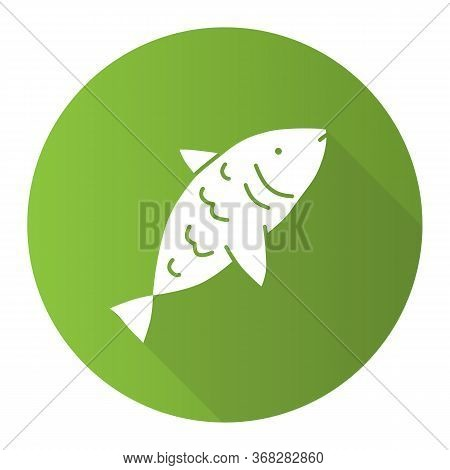 Raw Fish Green Flat Design Long Shadow Glyph Icon. Saltwater Animal With Fins, Gills And Scales Vect