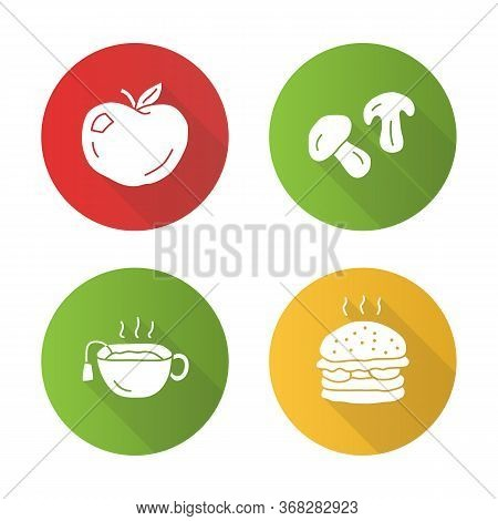 Delicious Lunch Flat Design Long Shadow Glyph Icons Set. Hot Tea, Ripe Apple, Burger And Mushrooms V
