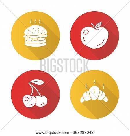 Healthy And Harmful Nutrition Flat Design Long Shadow Glyph Icons Set. Croissant, Ripe Apple, Cherry