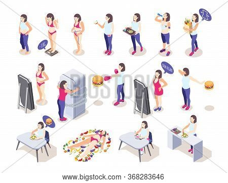 Woman On Diet Isometric Icons Collection With Female Human Characters Losing And Putting On Some Wei