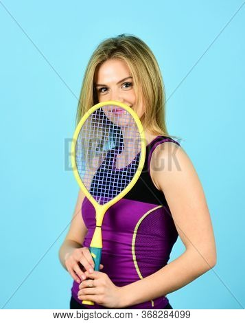 Tennis Club. Smiling Athletic Girl Hold Tennis Racket. In Pursuit Of Good Health. Girl Tennis Player