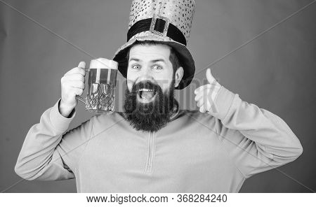 May The Luck Of The Irish Be With You. Hipster Leprechaun Holding Beer Mug. Irish Man Showing Thumbs