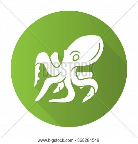 Octopus Green Flat Design Long Shadow Glyph Icon. Swimming Underwater Animal With Eight Tentacles. S