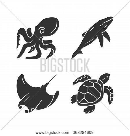 Underwater World Glyph Icons Set. Swimming Octopus, Turtle, Whale. Ocean Animals, Undersea Wildlife.