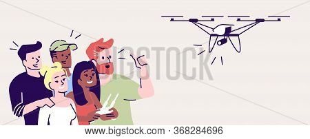 Selfie Flat Vector Illustration. Happy People Shooting With Drone. Capturing Bright Moments. Group O