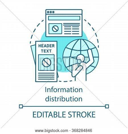 Information Distribution Concept Icon. Nonviolent Resistance, Propaganda Idea Thin Line Illustration