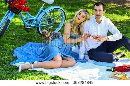 Inspiring Feelings. Cute Couple Drinking Wine Picnic. Romance Concept. Cheers. Celebrate Anniversary