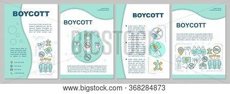 Boycott Brochure Template Layout. Consumer Activism Flyer, Booklet, Leaflet Print Design With Linear