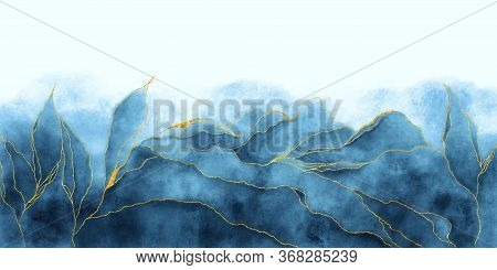Watercolor Background Drawn By Brush. Blue Paints Spilled On Paper. Golden Shiny Veins And Cracked M