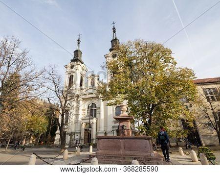 Sremski Karlovci, Serbia - November 19, 2019: Saint Nicholas Church, Or Crkva Svetog Nikole, A Baroq