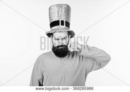 Look At My Moustache. Bearded Man Celebrating Saint Patricks Day. Hipster In Leprechaun Hat And Cost