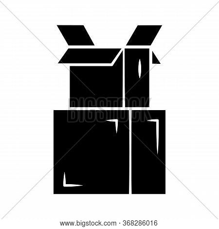 Cardboard Boxes Pile Glyph Icon. Parcel Packing. Empty Open Carton Boxes For Wrapping Order. Warehou