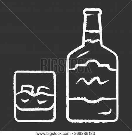 Whiskey Chalk Icon. Bottle And Old Fashioned Glass With Drink And Ice. Scotch, Rum Shot. Distilled A