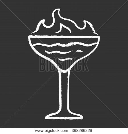 Flaming Cocktail Chalk Icon. Martini Glass With Beverage And Burning Fire. Drink With Flammable High