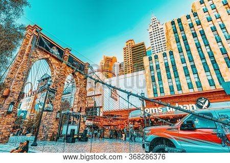 Main Street Of Las Vegas Is The Strip. Casino, Hotel And Resort New York.