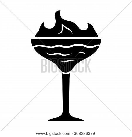 Flaming Cocktail Glyph Icon. Martini Glass With Beverage And Burning Fire. Drink With Flammable High