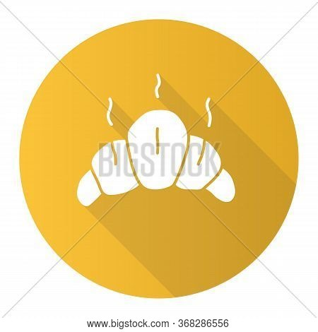 Delicious Croissant Yellow Flat Design Long Shadow Glyph Icon. Traditional French Delicacy, Fresh Ba
