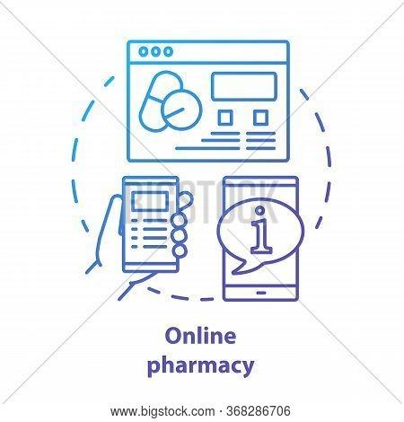 Online Pharmacy Concept Icon. Virtual Pharmacist Service Idea Thin Line Illustration. Internet Drugs