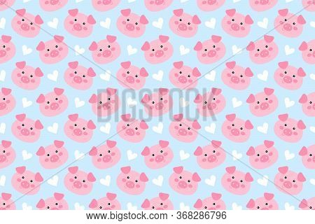Seamless Pattern With Cute Cartoon Piggie Vector Illustration