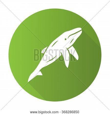 Whale Green Flat Design Long Shadow Glyph Icon. Marine Mammal. Underwater World Inhabitant. Ocean Pr