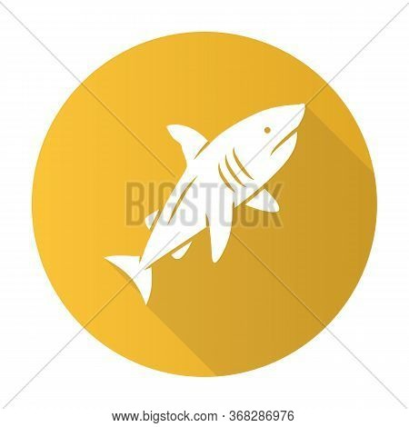 Shark Yellow Flat Design Long Shadow Glyph Icon. Dangerous Ocean Predator. Swimming Large Fish. Aqua