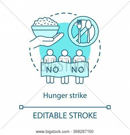 Hunger Strike Concept Icon. Voluntary Food Refuse, Nonviolent Protest Idea Thin Line Illustration. P