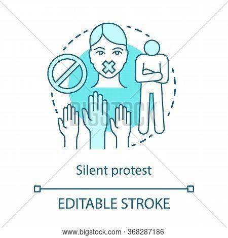 Silent Protest Concept Icon. Civil Disobedience, Nonviolent Resistance Idea Thin Line Illustration.