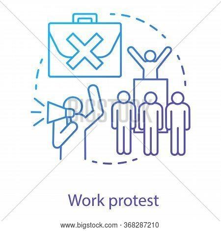 Work Protest Concept Icon. Social Demonstration, Labor Union Strike, Communism Idea Thin Line Illust