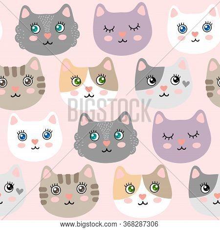 Seamless Pattern With Cute Cartoon Kitties Vector Illustration