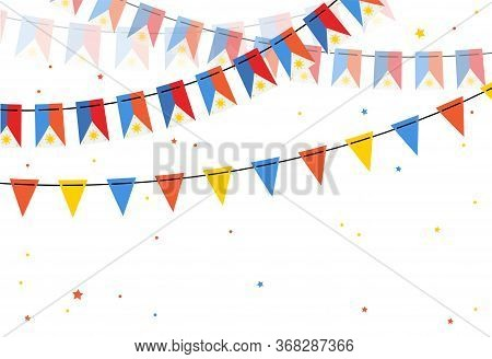 Flags Bunting Of Philippines On White Backgrounds. Banner For Independence Day.