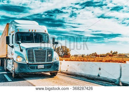 American Truck Cab On The Highway.