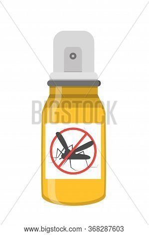 Repellent Spray Vector. Yellow Bottle Against Insects. Protection From Dangers Mosquitoes Is Shown.