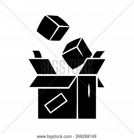 Parcel Packing Glyph Icon. Order Packaging. Cardboard Box With Goods. Postal Service. Parcel Deliver