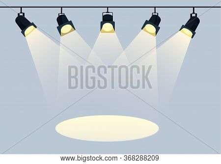 Flat Spotlights With Bright White Light Shining Stage Vector Set. Illuminated Effect Form Projector,
