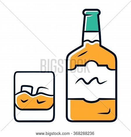 Whiskey Orange Color Icon. Bottle And Old Fashioned Glass With Drink And Ice. Scotch, Rum Shot. Dist