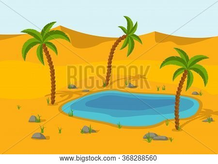 Oasis, Lake And Palms In The Desert. Sand Dunes Desert Landscape. Beautiful Nature Scenery. Vector I