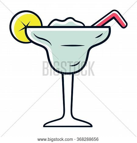 Margarita Grey Color Icon. Footed Glass With Icy Drink, Lemon Slice, Straw. Cocktail With Tequila, L