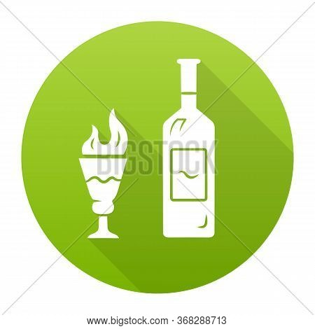 Absinthe Green Flat Design Long Shadow Glyph Icon. Bottle And Tall Footed Glass With Flaming Shot. D