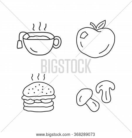 Delicious Lunch Linear Icons Set. Tasty Breakfast, Healthy And Harmful Food Thin Line Contour Symbol