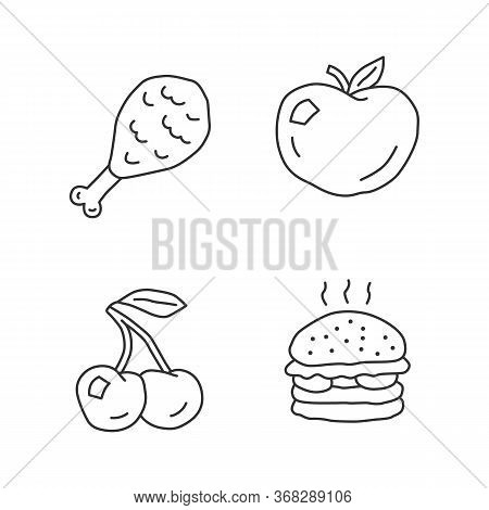 Healthy And Harmful Nutrition Linear Icons Set. Natural And Unhealthy Eating Thin Line Contour Symbo