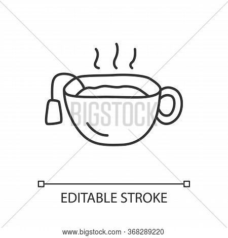 Hot Tea Cup Linear Icon. Mug With Warm Delicious Beverage Thin Line Illustration. Teatime Break, Bre