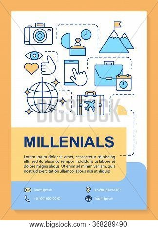 Millennials Poster Template Layout. Age Group. Echo Boomers. Core Values. Banner, Booklet, Leaflet P