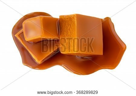 Tree Cubes Of Caramel Isolated On White Background. Stacked Caramel Pieces, Top View