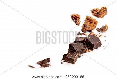 Chocolate Pieces And Butter Cookies Chunks  Isolated On White Background.