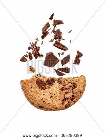 Chocolate Chip Cookies Isolated On White Background With Chocolate  Shavings And Chunks