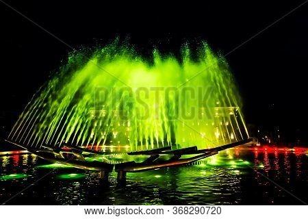 Kinetic Fountain In Drobeta Turnu Severin City Center, Mehedinti County, Romania.