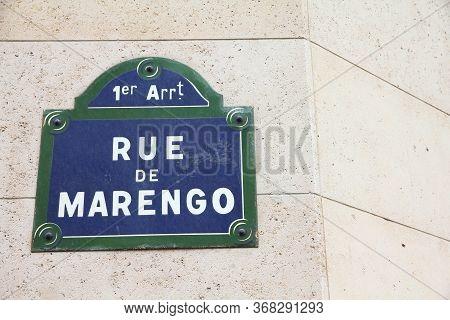 Paris, France - Rue De Marengo Old Street Sign.