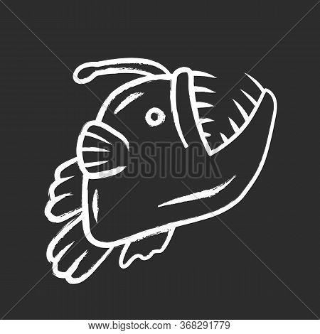 Anglerfish Chalk Icon. Swimming Goosefish. Underwater World. Ocean Monster, Undersea Floating Animal